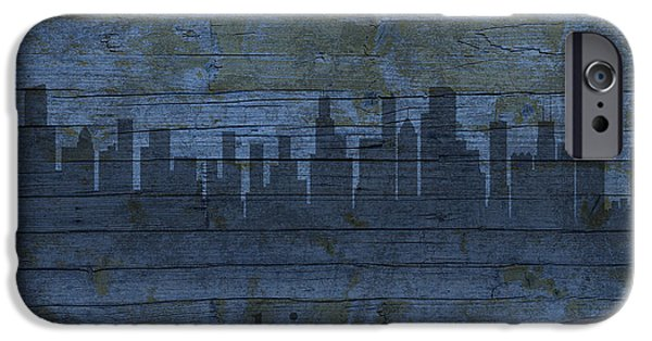 Skylines Mixed Media iPhone Cases - Chicago Skyline Silhouette Distressed on Worn Peeling Wood iPhone Case by Design Turnpike