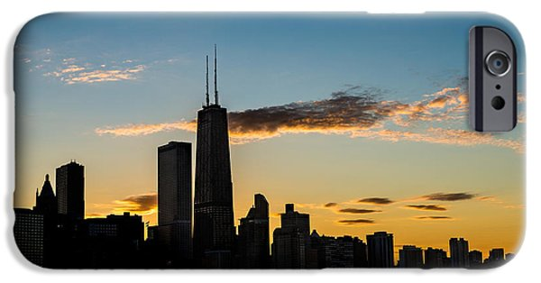 Chicago iPhone Cases - Chicago Skyline Silhouette iPhone Case by Steve Gadomski