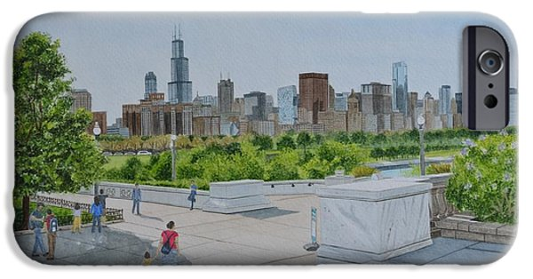 Willis Tower Paintings iPhone Cases - Chicago skyline iPhone Case by Swati Singh