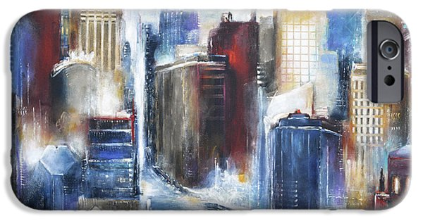 Chicago Paintings iPhone Cases - Chicago Skyline - The Chicago River iPhone Case by Kathleen Patrick