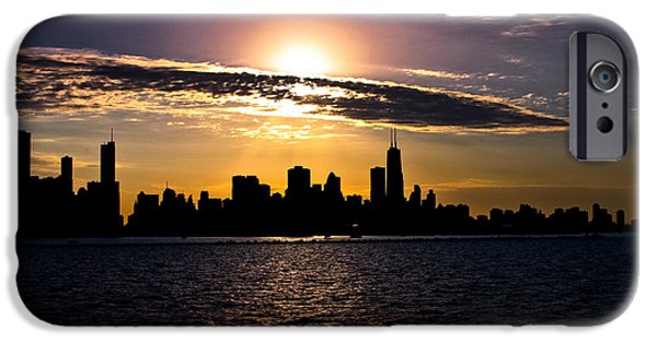 Chicago Cubs Digital iPhone Cases - Chicago Skyline  iPhone Case by Toni Geib