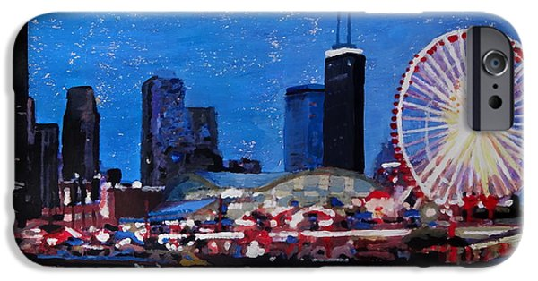 Chicago Paintings iPhone Cases - Chicago Skyline with Ferris Wheel iPhone Case by M Bleichner