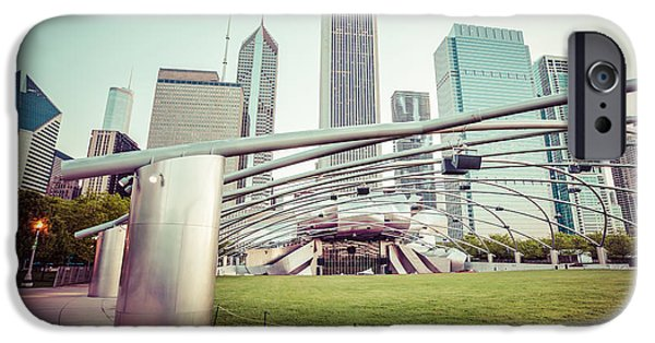 Venue iPhone Cases - Chicago Skyline with Pritzker Pavilion Vintage Picture iPhone Case by Paul Velgos