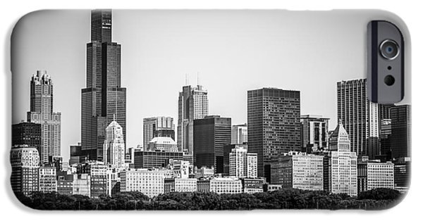 Willis Tower iPhone Cases - Chicago Skyline with Sears Tower in Black and White iPhone Case by Paul Velgos