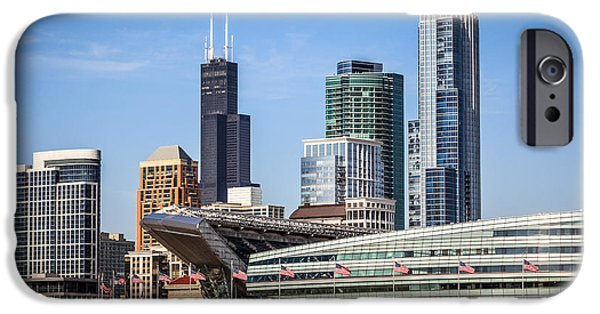 Soldier Field iPhone Cases - Chicago Skyline with Soldier Field and Sears Tower  iPhone Case by Paul Velgos