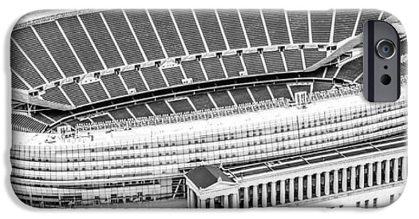 Soldier Field iPhone Cases - Chicago Soldier Field Aerial Panorama Photo iPhone Case by Paul Velgos