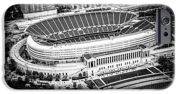 Soldier Field iPhone Cases - Chicago Soldier Field Aerial Picture in Black and White iPhone Case by Paul Velgos