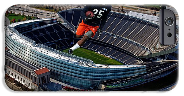 Soldier Field iPhone Cases - Chicago Soldier Field RB KaDeem Carey Cutout iPhone Case by Thomas Woolworth