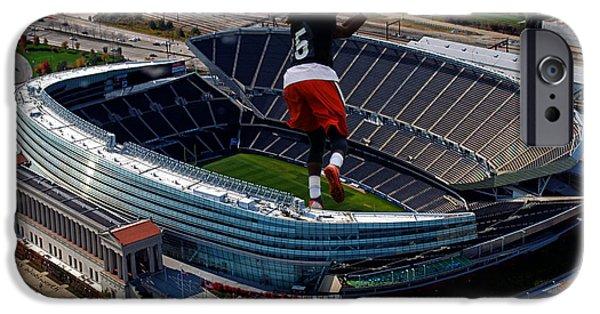 Soldier Field iPhone Cases - Chicago Soldier Field RB Senorise Perry Cutout iPhone Case by Thomas Woolworth