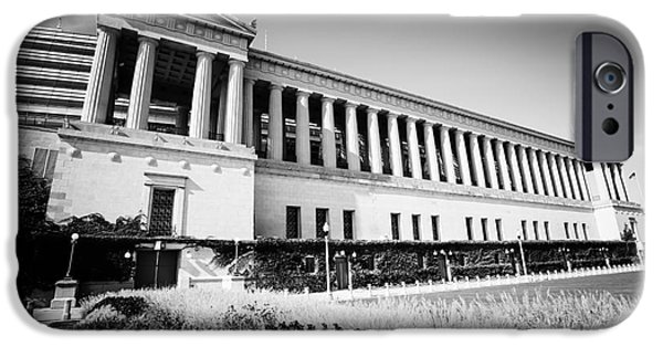 Soldier Field Photographs iPhone Cases - Chicago Solider Field Black and White Picture iPhone Case by Paul Velgos