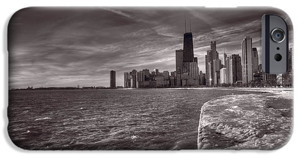 Sears Tower iPhone Cases - Chicago Sunrise BW iPhone Case by Steve Gadomski