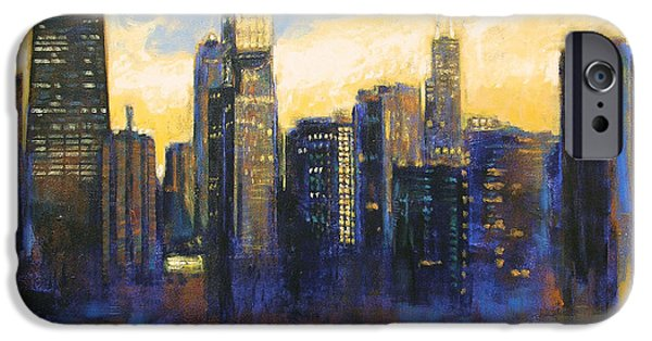 Chicago Paintings iPhone Cases - Chicago Sunset Looking South iPhone Case by Joseph Catanzaro