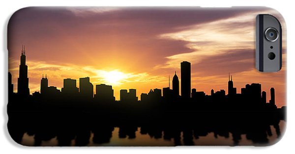 Downtown Mixed Media iPhone Cases - Chicago Sunset Skyline  iPhone Case by Aged Pixel