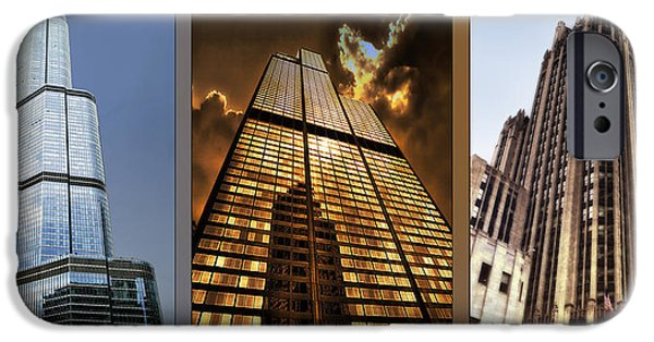 Willis Tower iPhone Cases - Chicago Tall Shoulders Trump Sears Tribune Triptych 3 Panel 01 iPhone Case by Thomas Woolworth