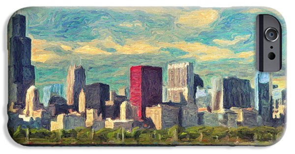 Willis Tower Paintings iPhone Cases - Chicago iPhone Case by Taylan Soyturk