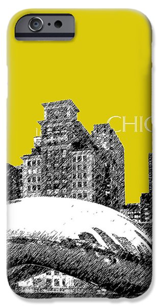 Pen And Ink Digital Art iPhone Cases - Chicago The Bean - Mustard iPhone Case by DB Artist