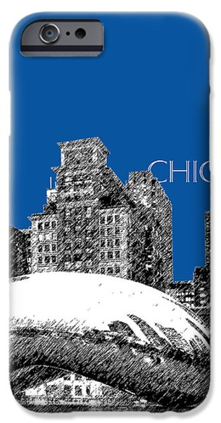 Pen And Ink Digital Art iPhone Cases - Chicago The Bean - Royal Blue iPhone Case by DB Artist