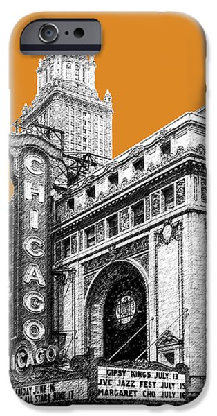 Pen Digital Art iPhone Cases - Chicago Theater - Dark Orange iPhone Case by DB Artist