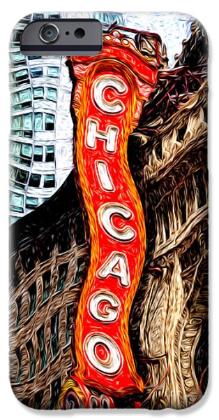 America Digital Art iPhone Cases - Chicago Theater Sign Digital Painting iPhone Case by Paul Velgos