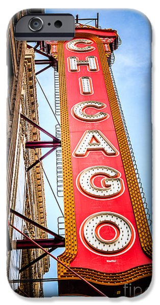 Historical Pictures iPhone Cases - Chicago Theater Sign Picture iPhone Case by Paul Velgos