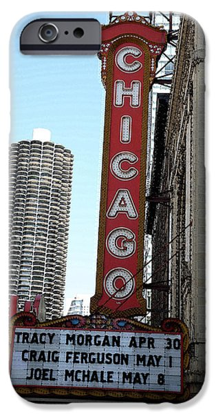Facade Mixed Media iPhone Cases - Chicago Theater with Watercolor Effect iPhone Case by Frank Romeo