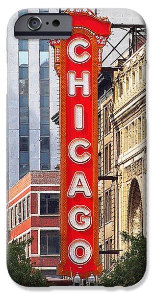 Christine Till iPhone Cases - Chicago Theatre - A classic Chicago landmark iPhone Case by Christine Till