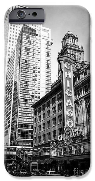 Editorial iPhone Cases - Chicago Theatre Black and White Picture iPhone Case by Paul Velgos