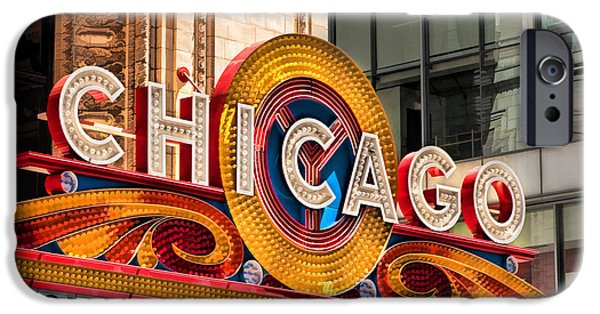 Sears Tower Paintings iPhone Cases - Chicago Theatre Marquee iPhone Case by Christopher Arndt