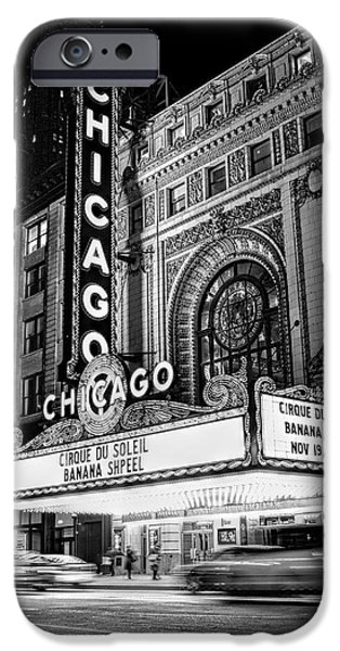 Recently Sold -  - Chicago iPhone Cases - Chicago Theatre Marquee Sign at Night Black and White iPhone Case by Christopher Arndt