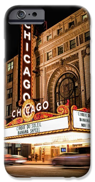 Sears Tower Paintings iPhone Cases - Chicago Theatre Marquee Sign at Night iPhone Case by Christopher Arndt