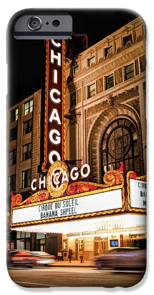 Grant Park Paintings iPhone Cases - Chicago Theatre Marquee Sign at Night iPhone Case by Christopher Arndt
