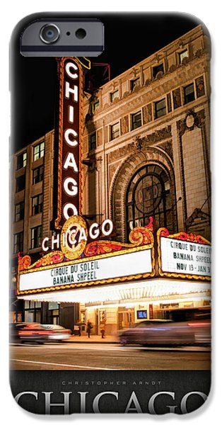 Chicago Paintings iPhone Cases - Chicago Theatre Marquee Sign at Night Poster iPhone Case by Christopher Arndt