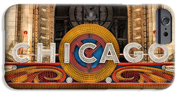 Sears Tower Paintings iPhone Cases - Chicago Theatre Marquee Sign iPhone Case by Christopher Arndt
