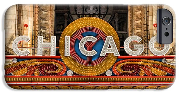 Grant Park Paintings iPhone Cases - Chicago Theatre Marquee Sign iPhone Case by Christopher Arndt
