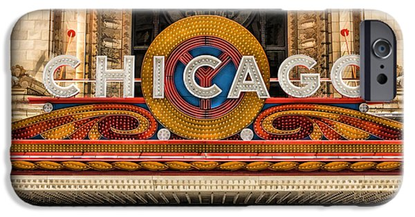 Chicago Paintings iPhone Cases - Chicago Theatre Marquee Sign Poster iPhone Case by Christopher Arndt