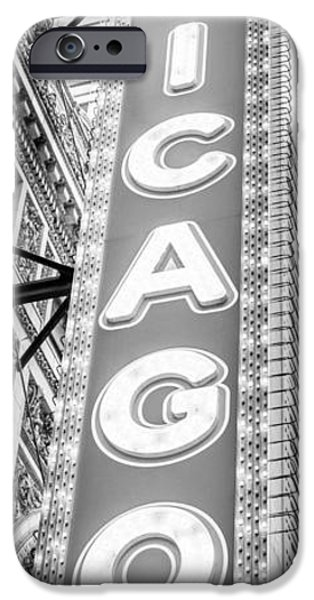 Venue iPhone Cases - Chicago Theatre Sign Black and White Panorama iPhone Case by Paul Velgos