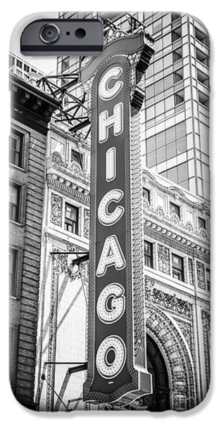 Venue iPhone Cases - Chicago Theatre Sign Black and White Picture iPhone Case by Paul Velgos
