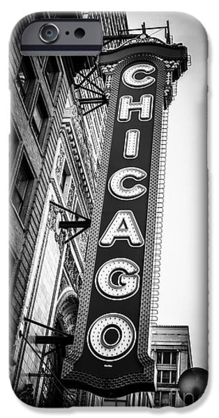 Venue iPhone Cases - Chicago Theatre Sign in Black and White iPhone Case by Paul Velgos
