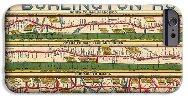 Chicago Paintings iPhone Cases - Chicago to San Francisco via Burlington Railroad 1879 iPhone Case by Celestial Images