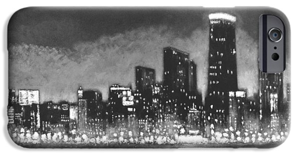 Wrigley Paintings iPhone Cases - Chicago Tonight - Black and White Skyline iPhone Case by Joseph Catanzaro