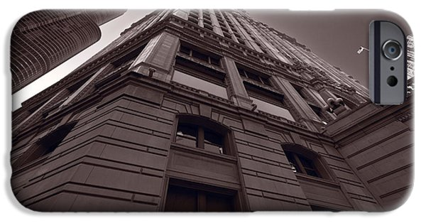 Wrigley iPhone Cases - Chicago Towers BW iPhone Case by Steve Gadomski