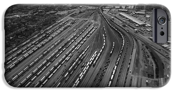 Central Il iPhone Cases - Chicago Transportation 02 Black and White iPhone Case by Thomas Woolworth