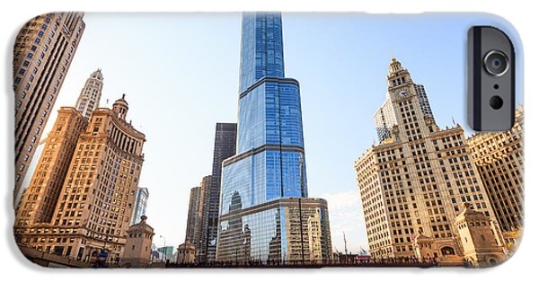 Wrigley iPhone Cases - Chicago Trump Tower At Michigan Avenue Bridge iPhone Case by Paul Velgos