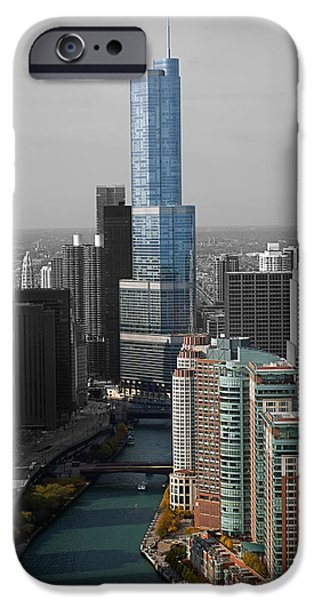 Central Il iPhone Cases - Chicago Trump Tower Blue Selective Coloring iPhone Case by Thomas Woolworth