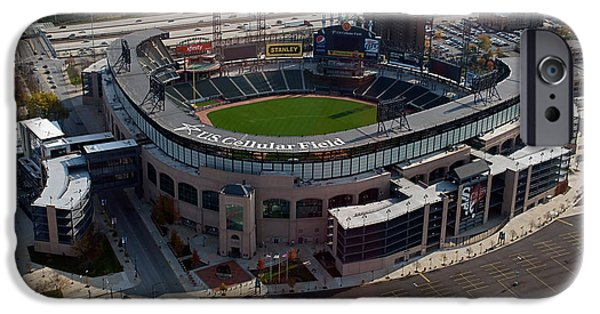 Cellular Mixed Media iPhone Cases - Chicago US Cellular Field 01 iPhone Case by Thomas Woolworth