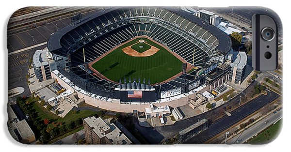 Cellular Mixed Media iPhone Cases - Chicago US Cellular Field 02 iPhone Case by Thomas Woolworth