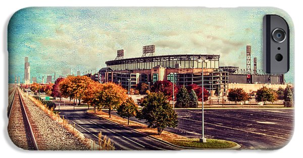 Cellular Mixed Media iPhone Cases - Chicago US Cellular Field Train View HDR Textured iPhone Case by Thomas Woolworth