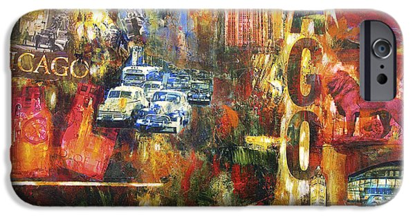 Chicago Paintings iPhone Cases - Chicago Vintage Art - Old Chicago iPhone Case by Joseph Catanzaro