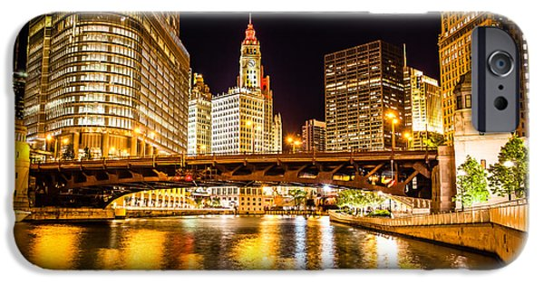 Wrigley iPhone Cases - Chicago Wabash Avenue Bridge at Night Picture iPhone Case by Paul Velgos
