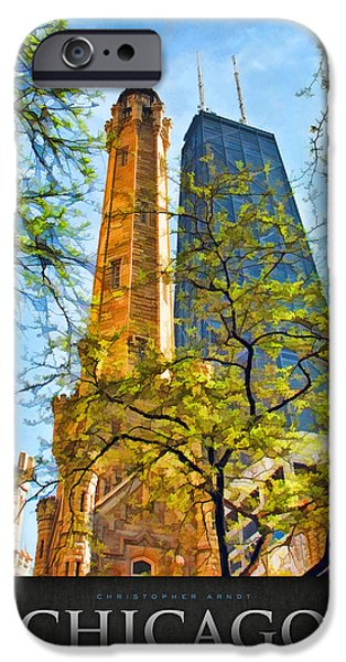Michigan Paintings iPhone Cases - Chicago Water and Hancock Towers Poster iPhone Case by Christopher Arndt